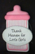 Baby Bottle Pink - Thank Heaven for Little Girls Personalised Gift Tag with Magnet