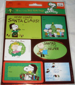 Peanuts Snoopy & Woodstock 18 Large Peel 'n Stick SHINY FOIL Christmas Gift Tags Stickers