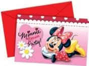 6 Minnie Mouse Polka Dot Party Invitations & Envelopes
