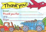 Boys Big Truck Thank You Cards, Fill-In Style, 8 Pack