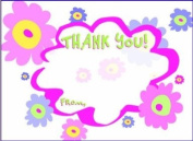 Girls Mod Flowers Thank You Cards, Fill-In Style, 8 Pack