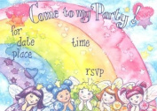 Girls Rainbow Invitation, Fill-In Style, 8 Pack