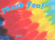 Kids Tye-Dye Thank You Cards, Fill-In Style, 8 Pack