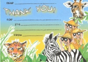 Kids Safari Thank You Cards, Fill-In Syle, 8 Pack