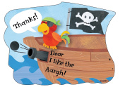 Boys Pirate Ship Thank You Cards, Fill-In Style, 8 Pack