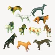 12 Mini Plastic DOG Figures/PUPPY TOYS/Birthday PARTY favours/Prizes/CUPCAKE Toppers/Teacher Rewards