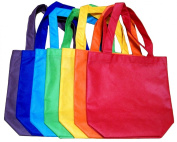 ColorYourLife 7-Pack Non-woven Reusable Kids Carrying Shopping Grocery Tote Bag for Party Favour in Retail Packaging -25cm Assorted Colours