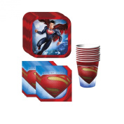 Superman Party Supplies Pack Including Plates, Cups and Napkins - 8 Guests
