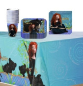 Disney Pixar Brave Party Supplies Pack Including Plates, Cups, Tablecover and Napkins- 16 Guest