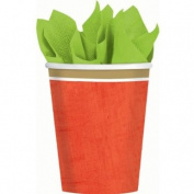 Poppy red border party cups