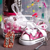 144PC FC6136 Oh-So-Cute Pink Star Print Baby Sneaker Key Chain Wedding Baby Show