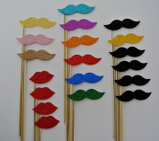 20 pieces Moustache on a Stick plus lips total 20 pc Rainbow Colours Wedding Photo Booth Party Props Birhtdays Fathers Day Decorations Moustache on a Stick Moustaches on a Stick and Many More Items