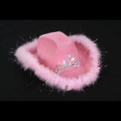 Felt Pink Feather Blinking Rhinestone Cowboy Hat