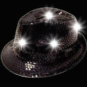 LED Sequin Fedora Hat - Light-up Hat - Black