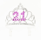 Forum Novelties Happy Birthday 21st Silver Pink Tiara