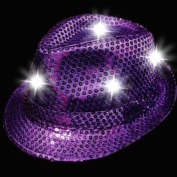 LED Sequin Fedora Hat - Light-up Hat - Purple