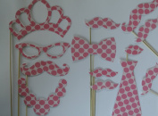 Moustache on a Stick Photo Booth Party Supplies Party Favours hot pink polka dots with light pink