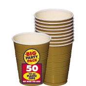 BIG PACK 350ml PLASTIC CUPS GOLD 50 COUNT