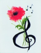 Music Treasures Co. Flower and Clef Stationery