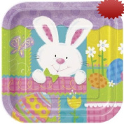 Patchwork Bunny Square Dinner Party Plate 23cm