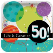 Life is Great 50th Birthday 23cm Paper Plates 8 Per Pack