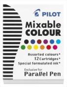 Pilot Refills Parallel - 12 Colours Assorted Fountain Pen Cartridge - P77312