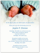 Blue Toes Baptism Christening Invitations - Set of 20