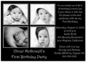 Four Me. in Black 1st Birthday Invitations - Set of 20