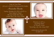 Sweet Stripes with Cross Girl Photo Christening Invitations - Set of 20