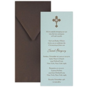 Tea with Thermography Style 1 Boy Baptism Christening Invitation - Set of 20