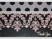 Pink/Purple/Silver Damask Polka Dots Thank You Note Cards w/ Envelopes