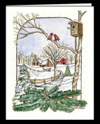 """CHRISTMAS WINTER NOTE CARDS STATIONERY """"SNOW FLURRIES"""" SET OF 8 CARDS/ENVELOPES"""
