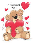 Suzy's Valentines Card Collection Stationery, Willie Bear Valentine Hug - 10862
