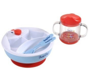 Set of warming bowl, drinking cup and cutlery