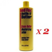 2 x RED FOX BOTTLE O' BUTTER PURE COCOA BUTTER MOISTURISING BODY LOTION 470ml