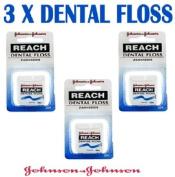 3 x 50M JOHNSON & JOHNSON REACH DENTAL FLOSS WAX ZAHNSEIDE