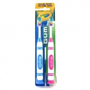 Butler Gum Crayola Toothbrush With Suction Cup Base, Soft Head, Twin Pack
