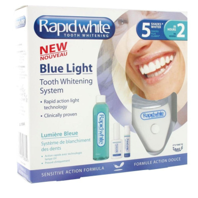 RAPID WHITE TOOTH WHITENING SYSTEM NEW BLUE LIGHT 5 SHADES LIGHTER IN 2 HOURS