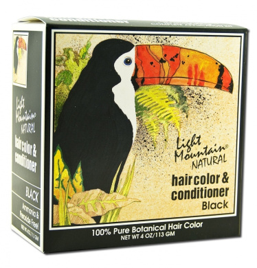 Light Mountain, Natural Hair Colour & Conditioner, Black, 120ml (113 g)