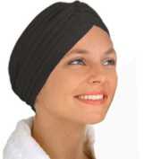 Black Fashion Turban Funky Headwrap, Ideal For Hair Loss, Chemo Or Fashion Use