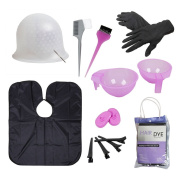 BMC Hair Dye Colouring DIY Beauty Salon Tool Kit- Highlighting Cap, Hook, Long Brush, Bowl, Clip, Cape