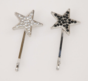 Sparkly Silver & Black Star Hair Clips Set of 2