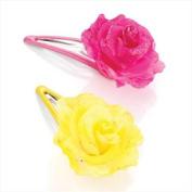 2 Hot Pink & Yellow Fabric Flower Hair Slides AJ23278