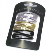 6 Gold Silver Black Shiny Metal Hair Slides AJ0658