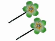 Glitz4Girlz Green Flower Top Hair Slides