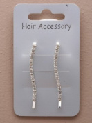 2 Clear Crystal Silver Wavey Hair Grips IN9554