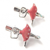 2 Girls Silver & Pink Glittery Ballerina Beak Clips IN9544