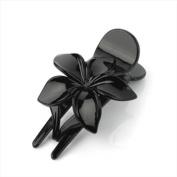 Black Flower Plastic Beak Clip/Clamp AJ26017