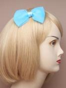 Blue Crinkle Fabric Bow Beak Clip IN9541