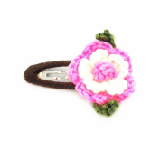Johnny Loves Rosie Crochet Flower Hairslide Pink